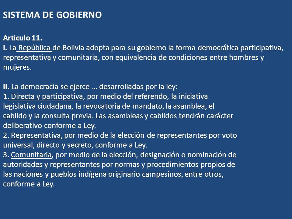 SISTEMA DE GOBIERNO Artículo 11. I. La República de Bolivia adopta para su gobierno la forma democrática participativa, representativa y comunitaria,