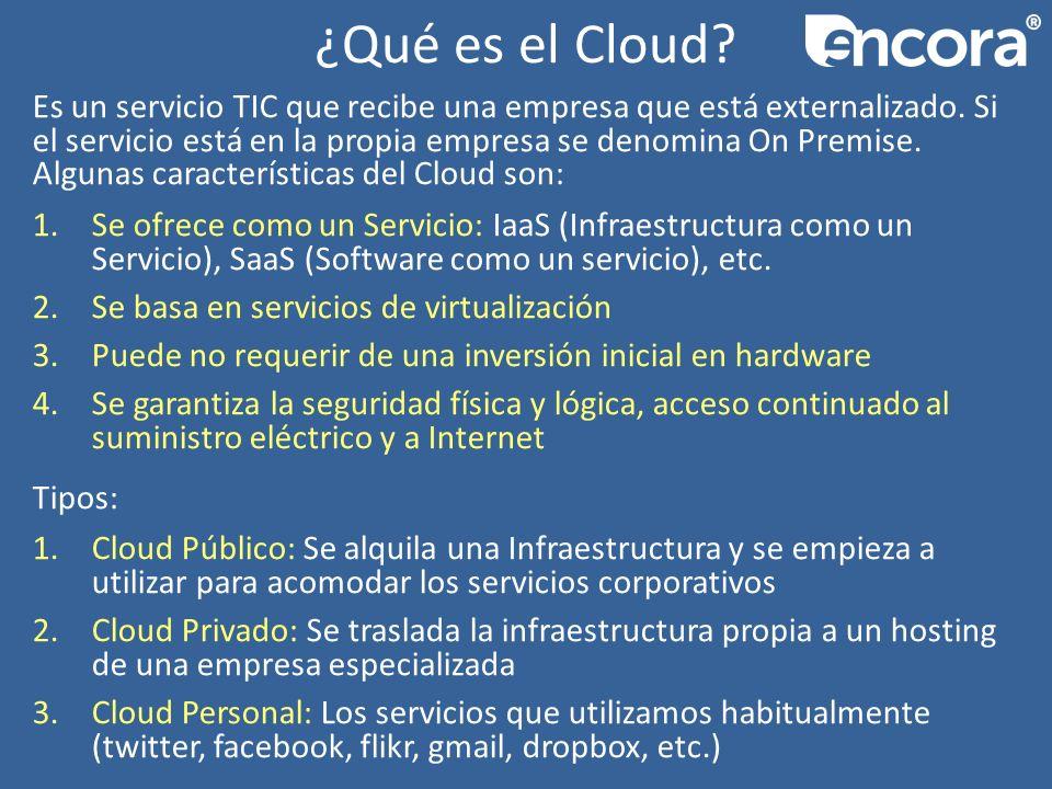 ¿Qué es el Cloud. Es un servicio TIC que recibe una empresa que está externalizado.