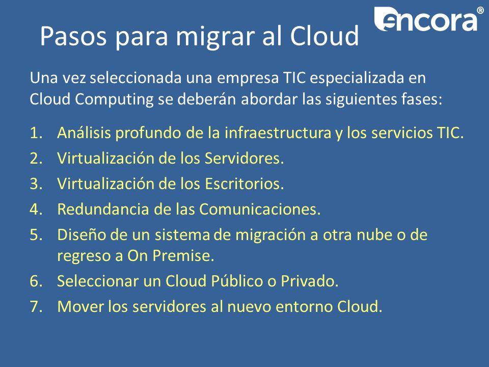 Pasos para migrar al Cloud Una vez seleccionada una empresa TIC especializada en Cloud Computing se deberán abordar las siguientes fases: 1.Análisis profundo de la infraestructura y los servicios TIC.