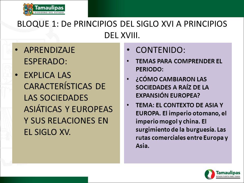 BLOQUE 1: De PRINCIPIOS DEL SIGLO XVI A PRINCIPIOS DEL XVIII. APRENDIZAJE ESPERADO: EXPLICA LAS CARACTERÍSTICAS DE LAS SOCIEDADES ASIÁTICAS Y EUROPEAS