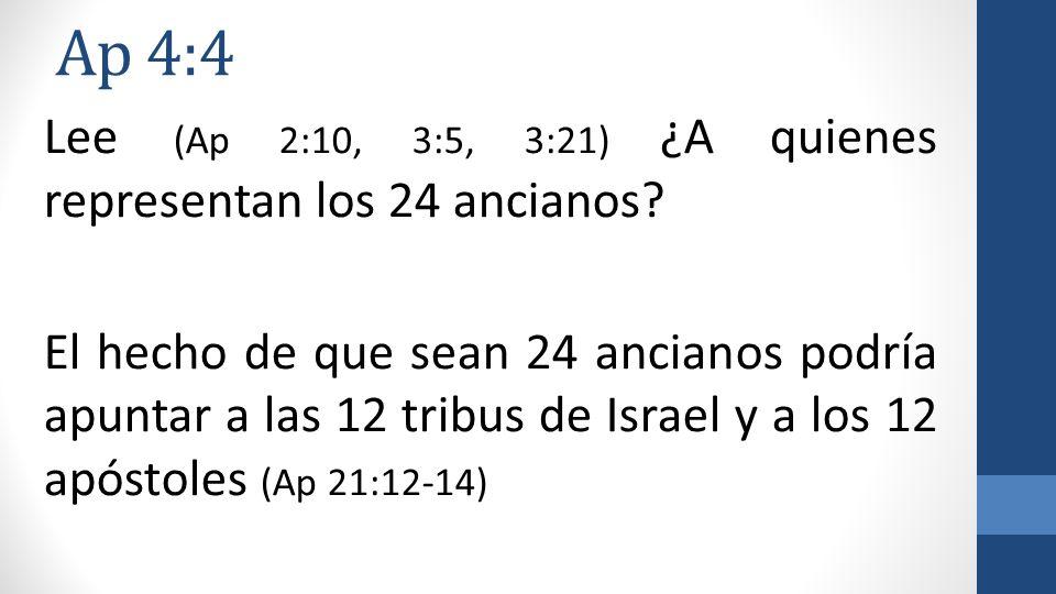 Ap 4:4 Lee (Ap 2:10, 3:5, 3:21) ¿A quienes representan los 24 ancianos? El hecho de que sean 24 ancianos podría apuntar a las 12 tribus de Israel y a
