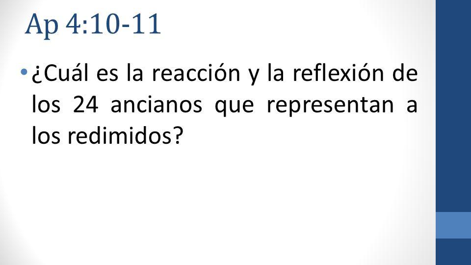 Ap 4:10-11 ¿Cuál es la reacción y la reflexión de los 24 ancianos que representan a los redimidos?