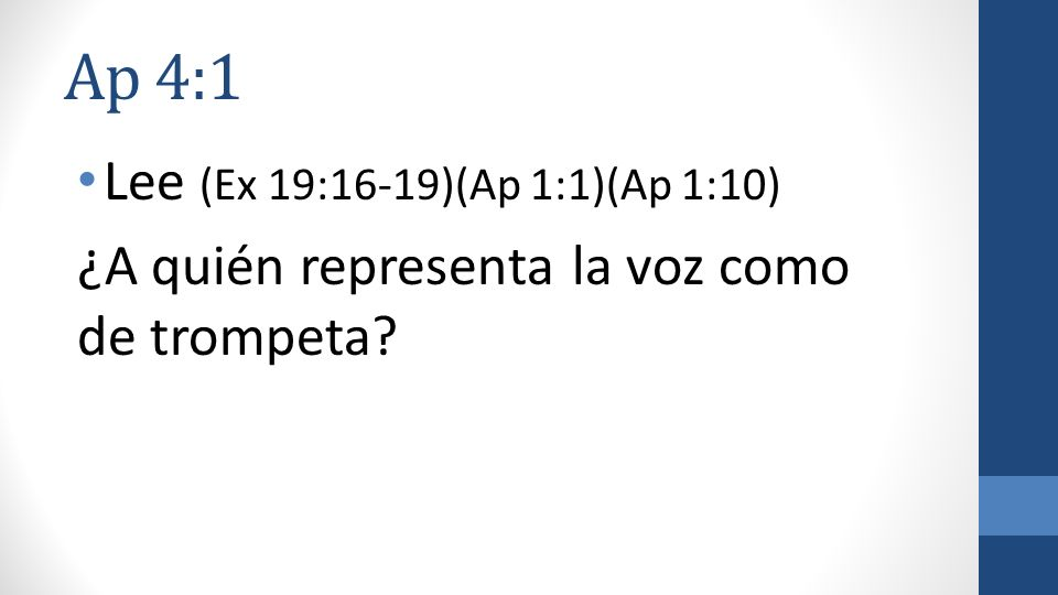 Ap 4:1 Lee (Ex 19:16-19)(Ap 1:1)(Ap 1:10) ¿A quién representa la voz como de trompeta?