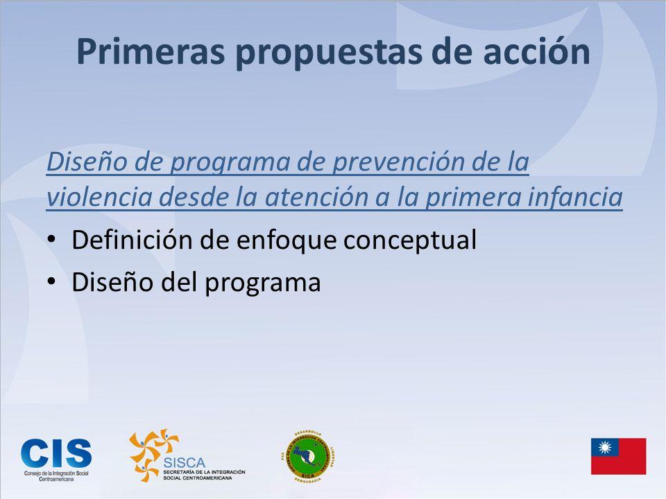 Primeras propuestas de acción Diseño de programa de prevención de la violencia desde la atención a la primera infancia Definición de enfoque conceptua