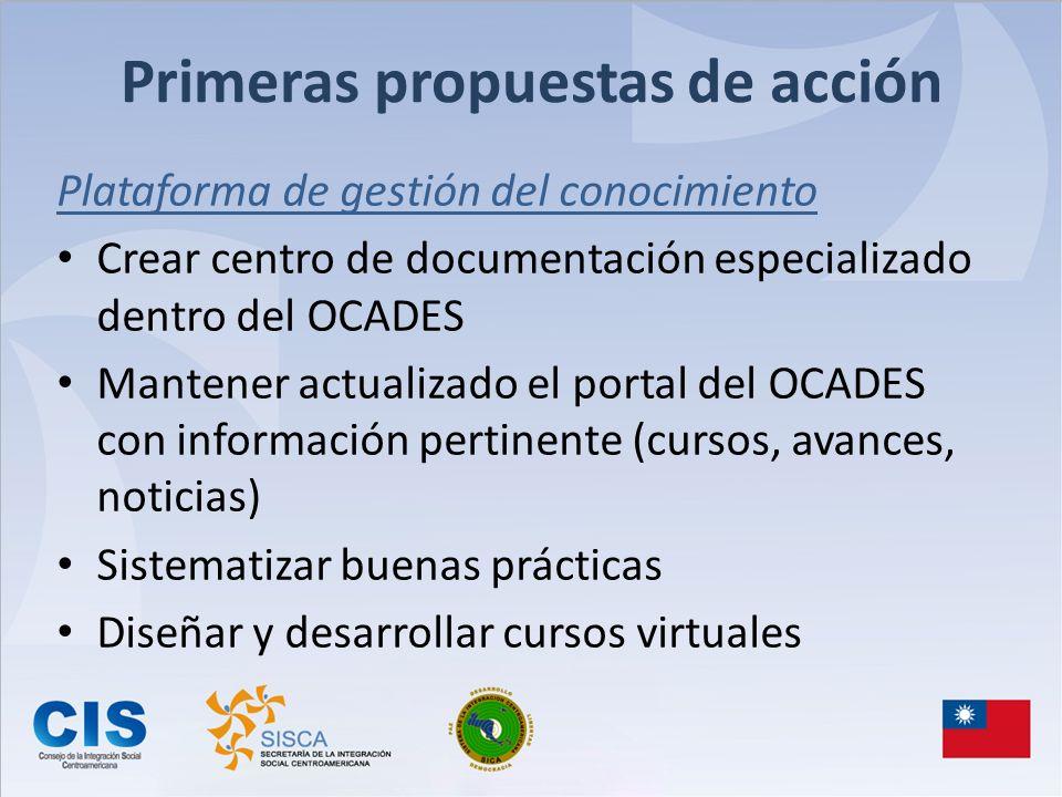 Primeras propuestas de acción Plataforma de gestión del conocimiento Crear centro de documentación especializado dentro del OCADES Mantener actualizad