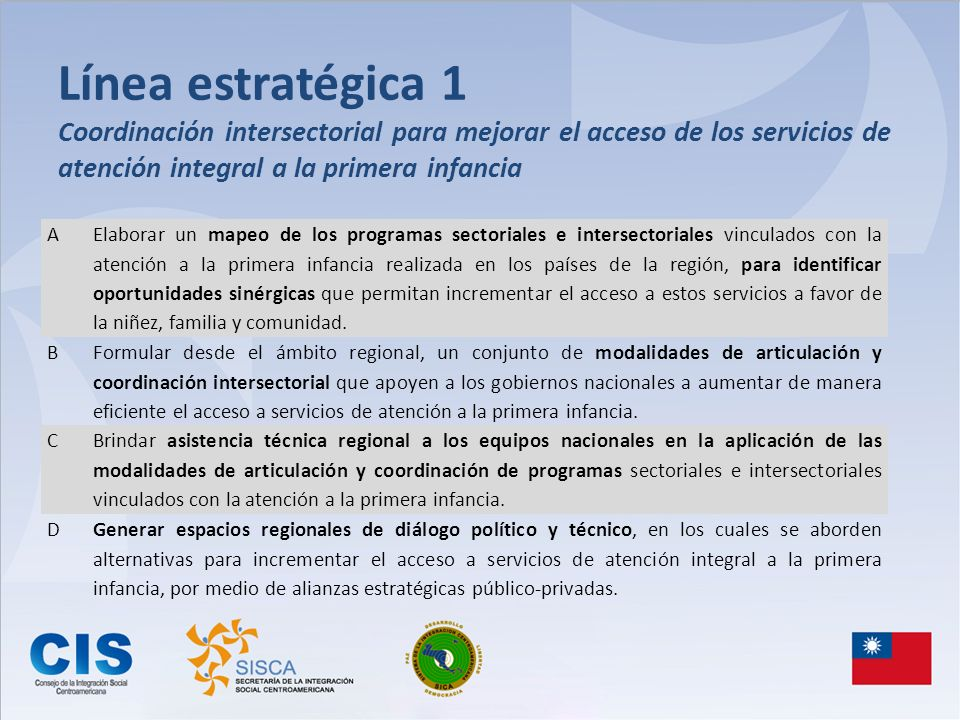 Línea estratégica 1 Coordinación intersectorial para mejorar el acceso de los servicios de atención integral a la primera infancia A Elaborar un mapeo