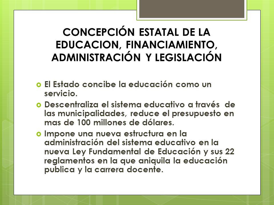 CONCEPCIÓN ESTATAL DE LA EDUCACION, FINANCIAMIENTO, ADMINISTRACIÓN Y LEGISLACIÓN El Estado concibe la educación como un servicio. Descentraliza el sis