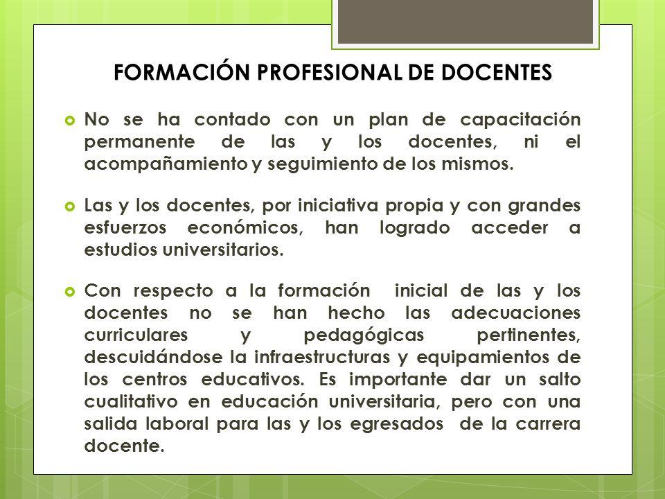 FORMACIÓN PROFESIONAL DE DOCENTES No se ha contado con un plan de capacitación permanente de las y los docentes, ni el acompañamiento y seguimiento de