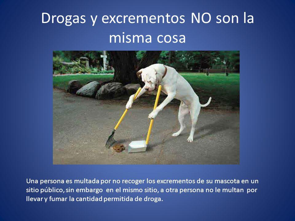 Drogas y excrementos NO son la misma cosa Una persona es multada por no recoger los excrementos de su mascota en un sitio público, sin embargo en el mismo sitio, a otra persona no le multan por llevar y fumar la cantidad permitida de droga.