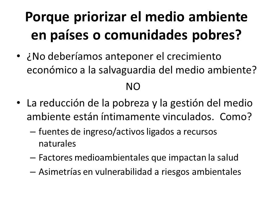 La doble causalidad Medio ambiente Pobreza Preguntas clave: ¿Una intervención de combate a pobreza (específica) tiene efectos sore el medio ambiente.