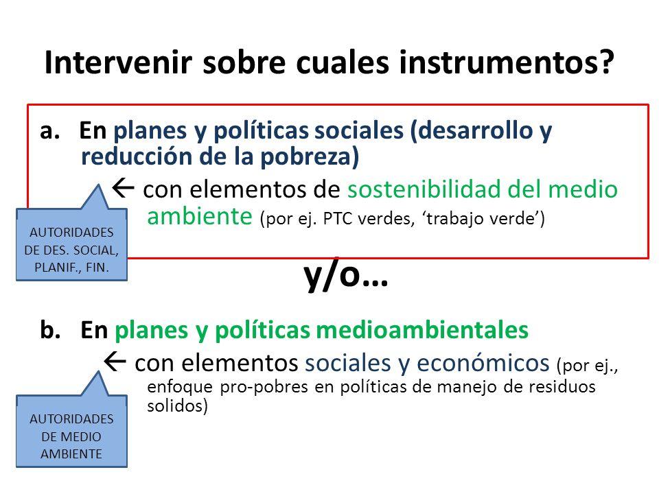 Intervenir sobre cuales instrumentos? a. En planes y políticas sociales (desarrollo y reducción de la pobreza) con elementos de sostenibilidad del med