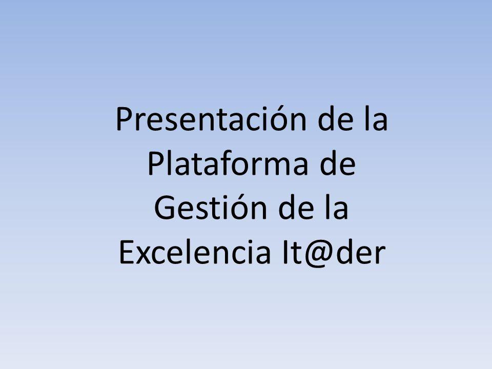 Objetivo general y desarrollo El objetivo general de este documento es presentar las funcionalidades de la herramienta software IT@DER y su aplicación en la gestión documental y operativa de los Sistemas de Excelencia de la Organización.