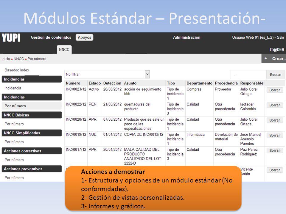 Módulos Estándar – Presentación- Acciones a demostrar 1- Estructura y opciones de un módulo estándar (No conformidades). 2- Gestión de vistas personal