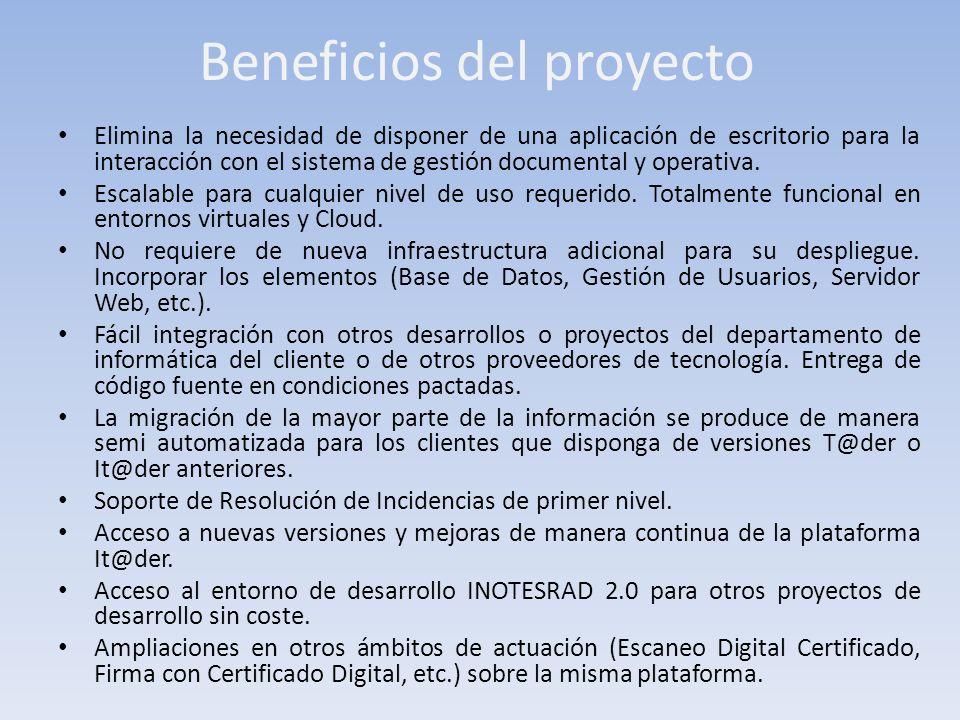 Beneficios del proyecto Elimina la necesidad de disponer de una aplicación de escritorio para la interacción con el sistema de gestión documental y op