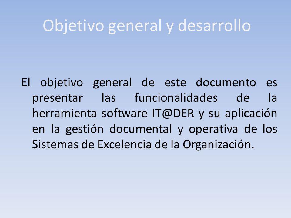 Objetivo general y desarrollo El objetivo general de este documento es presentar las funcionalidades de la herramienta software IT@DER y su aplicación