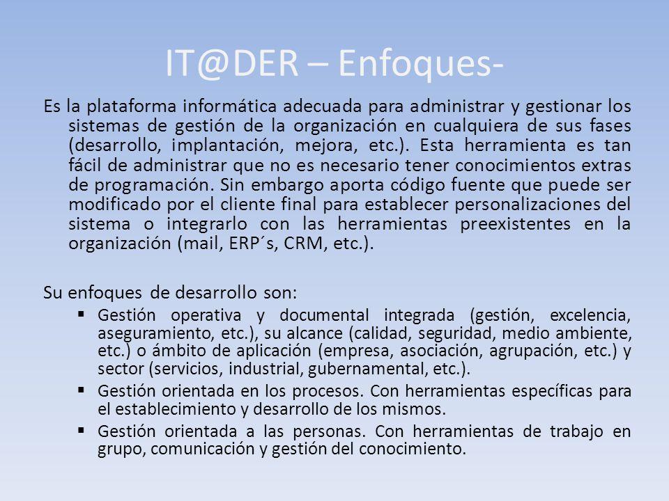 IT@DER – Enfoques- Es la plataforma informática adecuada para administrar y gestionar los sistemas de gestión de la organización en cualquiera de sus