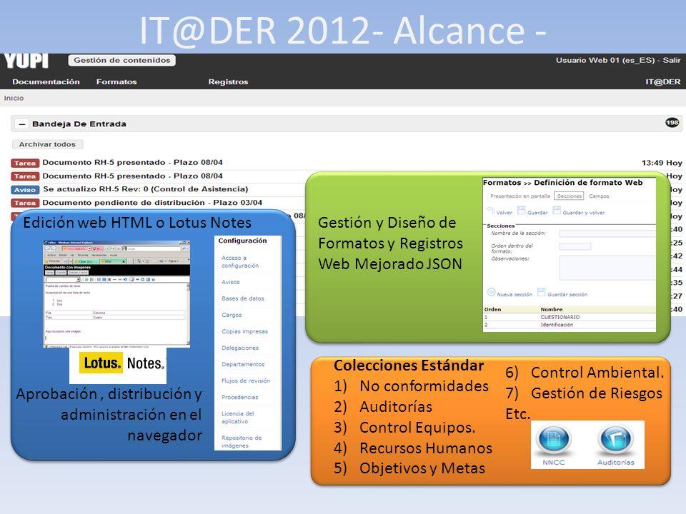 IT@DER 2012- Alcance - Edición web HTML o Lotus Notes Aprobación, distribución y administración en el navegador Gestión y Diseño de Formatos y Registros Web Mejorado JSON Colecciones Estándar 1)No conformidades 2)Auditorías 3)Control Equipos.