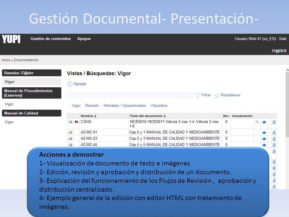 Gestión Documental- Presentación- Acciones a demostrar 1- Visualización de documento de texto e imágenes 2- Edición, revisión y aprobación y distribución de un documento.