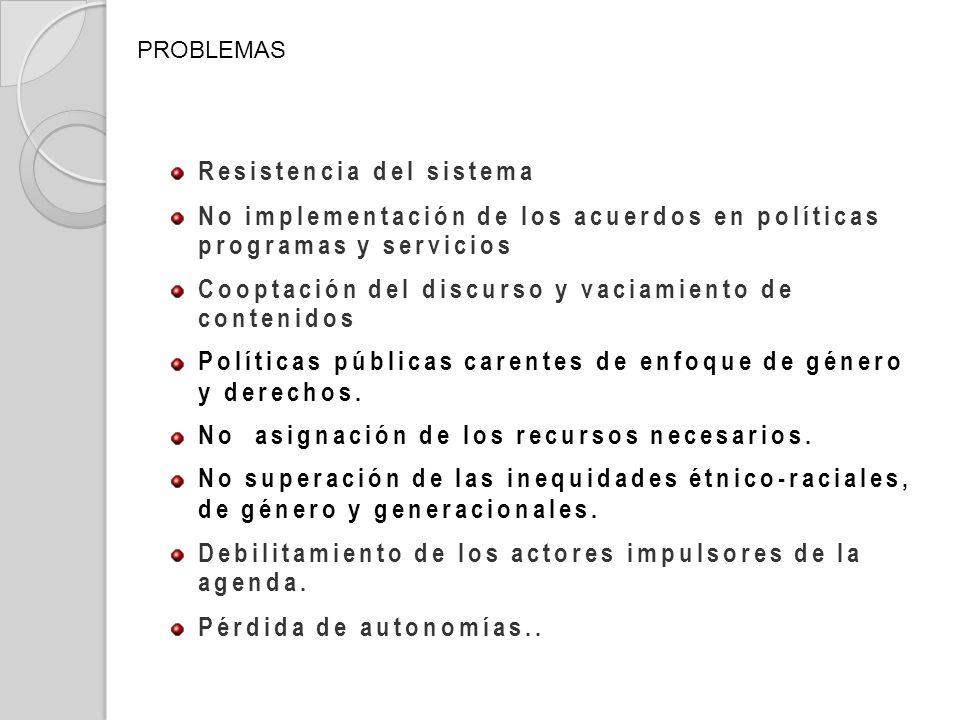 Resistencia del sistema No implementación de los acuerdos en políticas programas y servicios Cooptación del discurso y vaciamiento de contenidos Polít