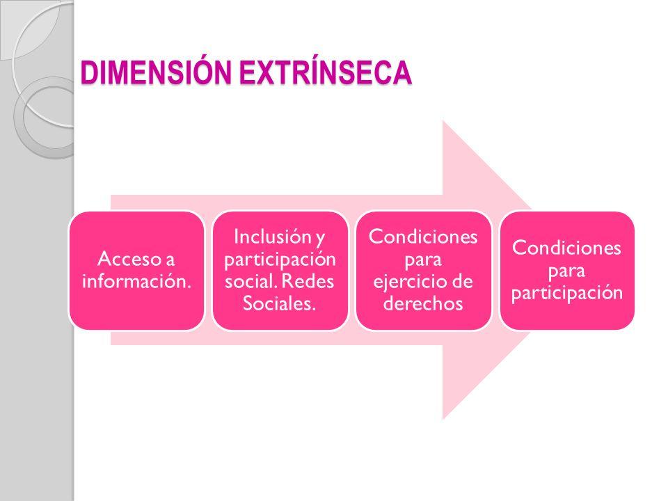 DIMENSIÓN EXTRÍNSECA Acceso a información. Inclusión y participación social. Redes Sociales. Condiciones para ejercicio de derechos Condiciones para p