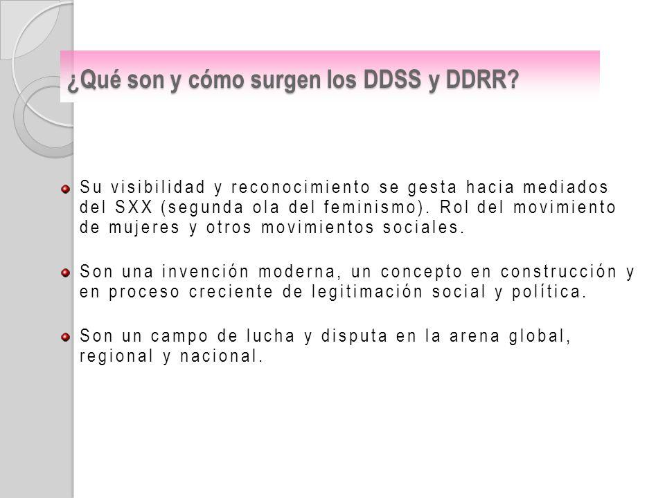 ¿Qué son y cómo surgen los DDSS y DDRR? Su visibilidad y reconocimiento se gesta hacia mediados del SXX (segunda ola del feminismo). Rol del movimient