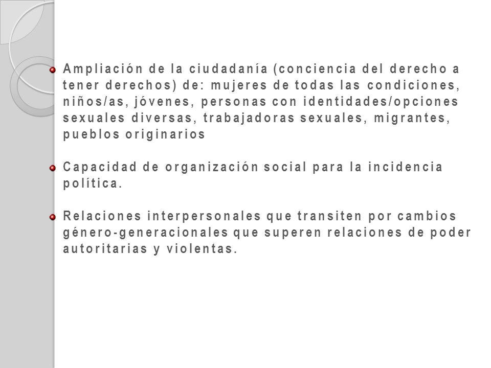Ampliación de la ciudadanía (conciencia del derecho a tener derechos) de: mujeres de todas las condiciones, niños/as, jóvenes, personas con identidade