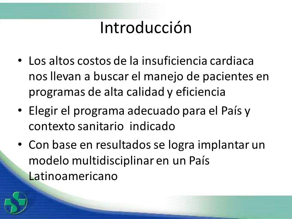 Introducción Los altos costos de la insuficiencia cardiaca nos llevan a buscar el manejo de pacientes en programas de alta calidad y eficiencia Elegir