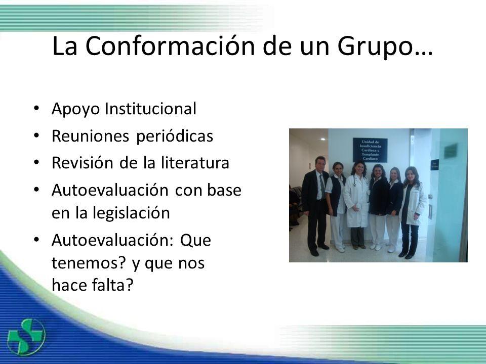 La Conformación de un Grupo… Apoyo Institucional Reuniones periódicas Revisión de la literatura Autoevaluación con base en la legislación Autoevaluaci
