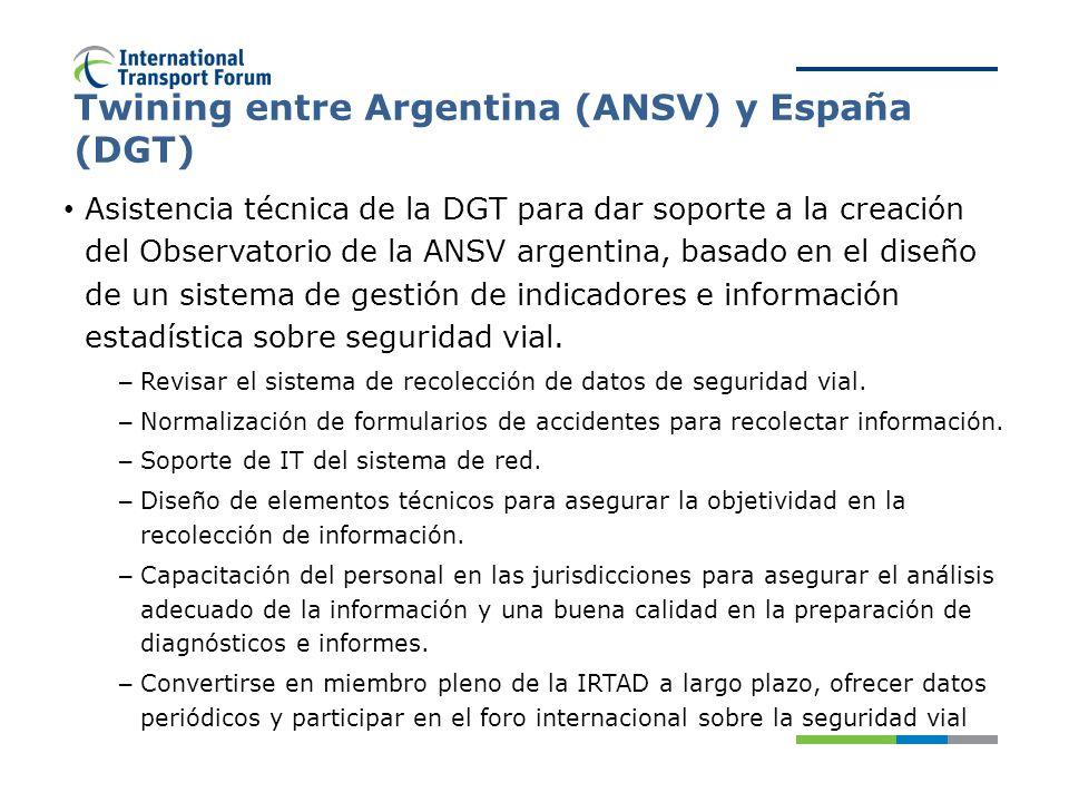 Twining entre Argentina (ANSV) y España (DGT) Asistencia técnica de la DGT para dar soporte a la creación del Observatorio de la ANSV argentina, basado en el diseño de un sistema de gestión de indicadores e información estadística sobre seguridad vial.