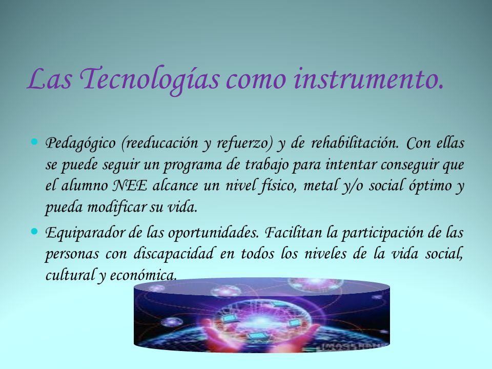 Las Tecnologías como instrumento. Pedagógico (reeducación y refuerzo) y de rehabilitación. Con ellas se puede seguir un programa de trabajo para inten
