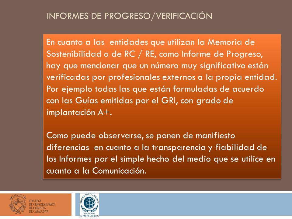 INFORMES DE PROGRESO/VERIFICACIÓN En cuanto a las entidades que utilizan la Memoria de Sostenibilidad o de RC / RE, como Informe de Progreso, hay que mencionar que un número muy significativo están verificadas por profesionales externos a la propia entidad.