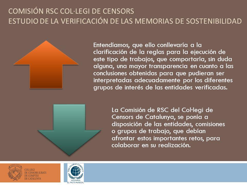 COMISIÓN RSC COL·LEGI DE CENSORS ESTUDIO DE LA VERIFICACIÓN DE LAS MEMORIAS DE SOSTENIBILIDAD Entendíamos, que ello conllevaría a la clarificación de