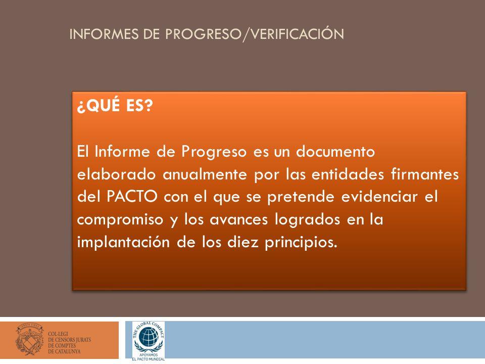 INFORMES DE PROGRESO/VERIFICACIÓN ¿QUÉ ES? El Informe de Progreso es un documento elaborado anualmente por las entidades firmantes del PACTO con el qu