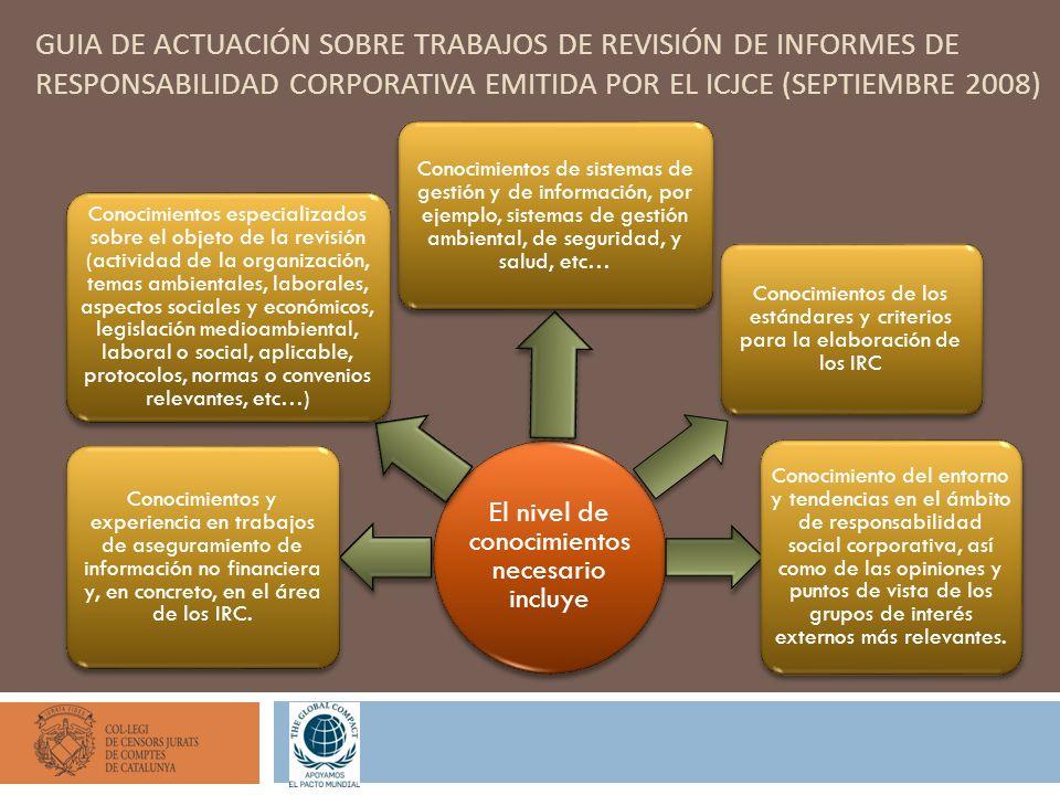 GUIA DE ACTUACIÓN SOBRE TRABAJOS DE REVISIÓN DE INFORMES DE RESPONSABILIDAD CORPORATIVA EMITIDA POR EL ICJCE (SEPTIEMBRE 2008) El nivel de conocimient