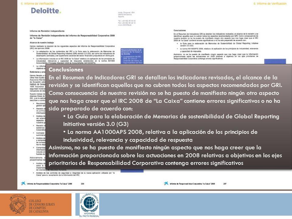 Conclusiones En el Resumen de Indicadores GRI se detallan los indicadores revisados, el alcance de la revisión y se identifican aquellos que no cubren