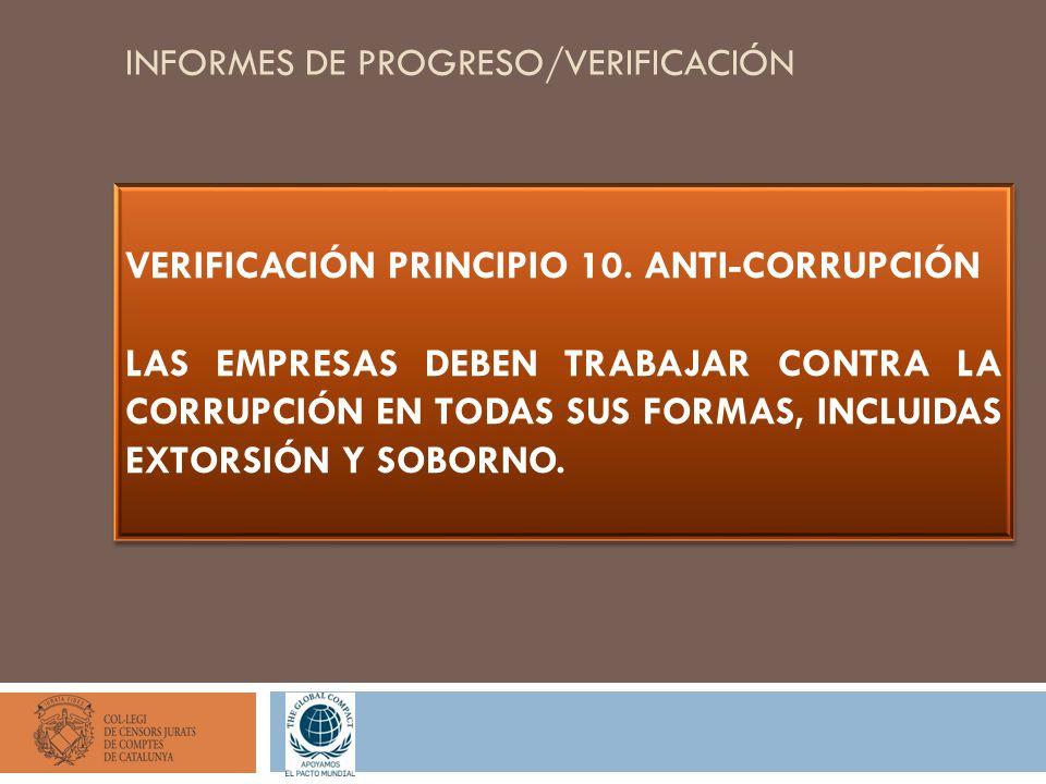 INFORMES DE PROGRESO/VERIFICACIÓN VERIFICACIÓN PRINCIPIO 10. ANTI-CORRUPCIÓN LAS EMPRESAS DEBEN TRABAJAR CONTRA LA CORRUPCIÓN EN TODAS SUS FORMAS, INC