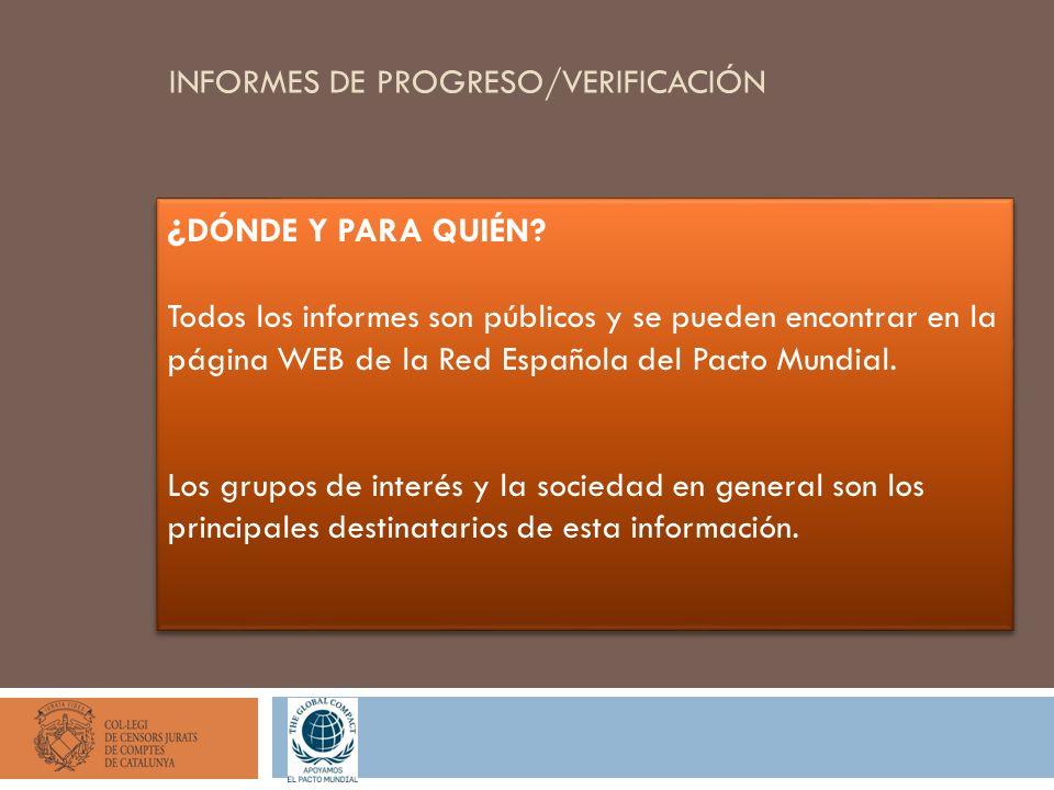 INFORMES DE PROGRESO/VERIFICACIÓN ¿ DÓNDE Y PARA QUIÉN? Todos los informes son públicos y se pueden encontrar en la página WEB de la Red Española del