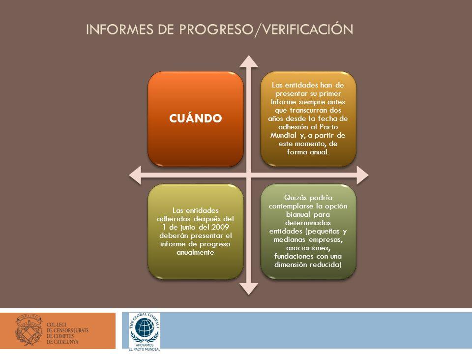 INFORMES DE PROGRESO/VERIFICACIÓN CUÁNDO Las entidades han de presentar su primer Informe siempre antes que transcurran dos años desde la fecha de adhesión al Pacto Mundial y, a partir de este momento, de forma anual.