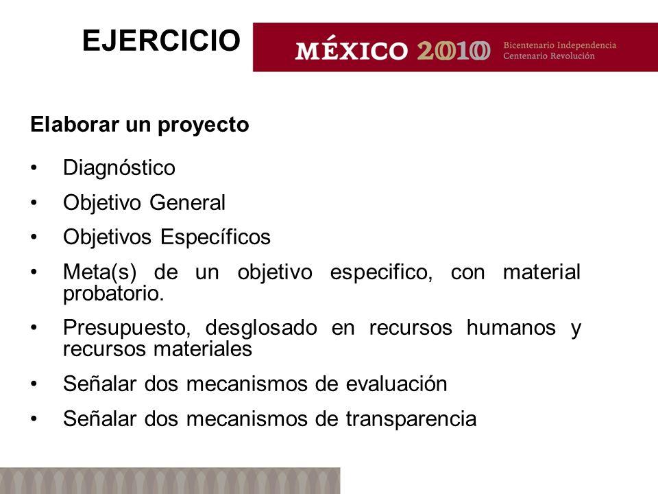 EJERCICIO Elaborar un proyecto Diagnóstico Objetivo General Objetivos Específicos Meta(s) de un objetivo especifico, con material probatorio.