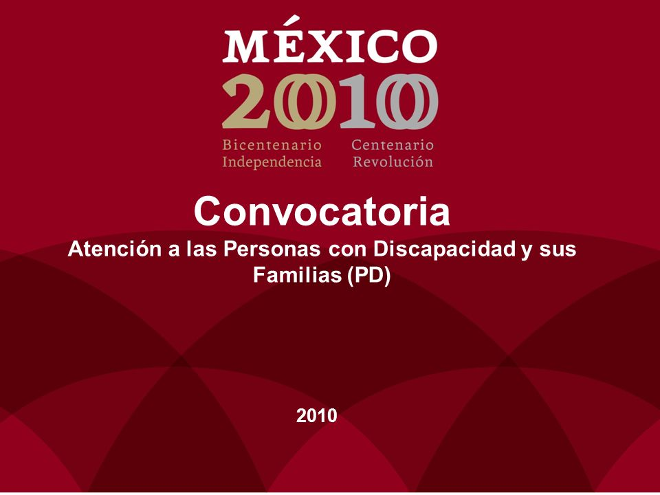 Convocatoria Atención a las Personas con Discapacidad y sus Familias (PD) 2010