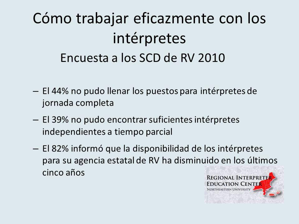 Cómo trabajar eficazmente con los intérpretes – El 44% no pudo llenar los puestos para intérpretes de jornada completa – El 39% no pudo encontrar suficientes intérpretes independientes a tiempo parcial – El 82% informó que la disponibilidad de los intérpretes para su agencia estatal de RV ha disminuido en los últimos cinco años Encuesta a los SCD de RV 2010
