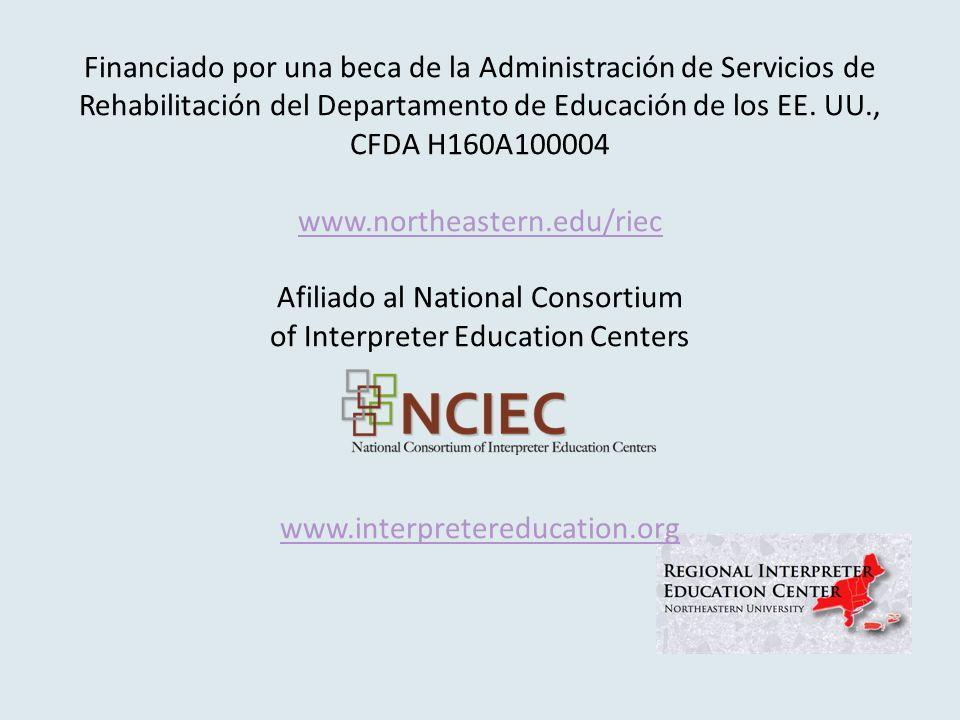 Financiado por una beca de la Administración de Servicios de Rehabilitación del Departamento de Educación de los EE.