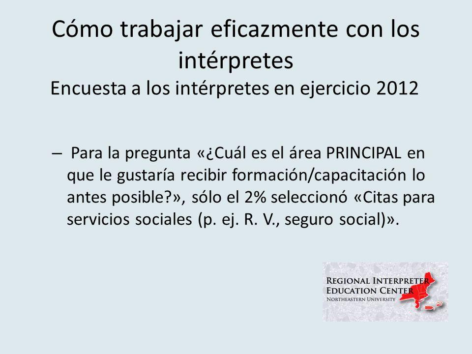 Cómo trabajar eficazmente con los intérpretes – Para la pregunta «¿Cuál es el área PRINCIPAL en que le gustaría recibir formación/capacitación lo antes posible?», sólo el 2% seleccionó «Citas para servicios sociales (p.