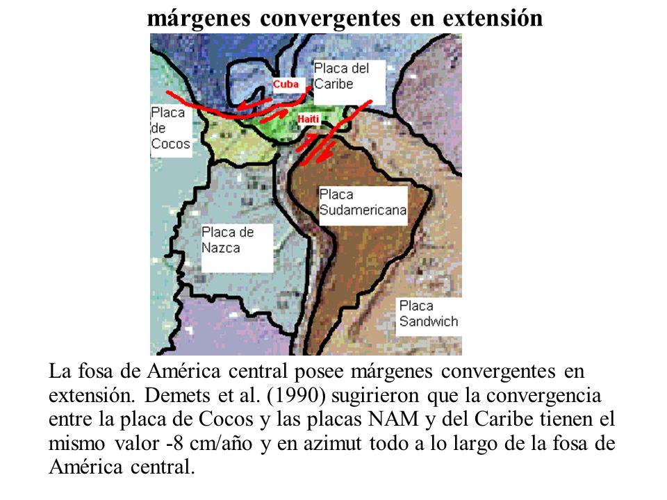 márgenes convergentes en extensión La fosa de América central posee márgenes convergentes en extensión. Demets et al. (1990) sugirieron que la converg