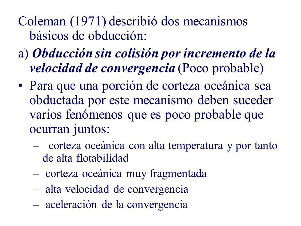 Coleman (1971) describió dos mecanismos básicos de obducción: a) Obducción sin colisión por incremento de la velocidad de convergencia (Poco probable)
