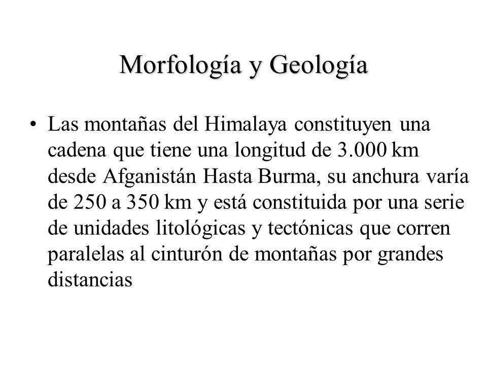 Morfología y Geología Las montañas del Himalaya constituyen una cadena que tiene una longitud de 3.000 km desde Afganistán Hasta Burma, su anchura var