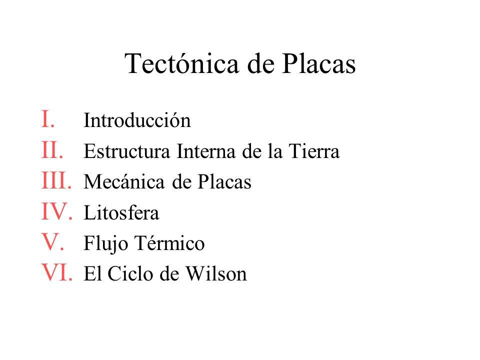 Tectónica de Placas I. Introducción II. Estructura Interna de la Tierra III. Mecánica de Placas IV. Litosfera V. Flujo Térmico VI. El Ciclo de Wilson