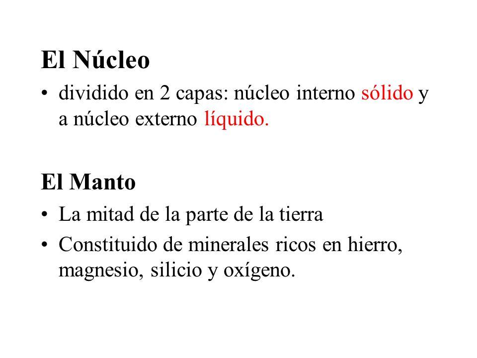 El Núcleo dividido en 2 capas: núcleo interno sólido y a núcleo externo líquido. El Manto La mitad de la parte de la tierra Constituido de minerales r