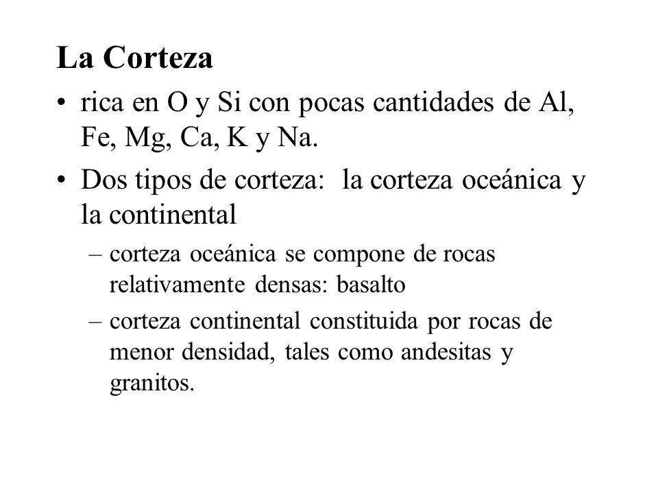 La Corteza rica en O y Si con pocas cantidades de Al, Fe, Mg, Ca, K y Na. Dos tipos de corteza: la corteza oceánica y la continental –corteza oceánica