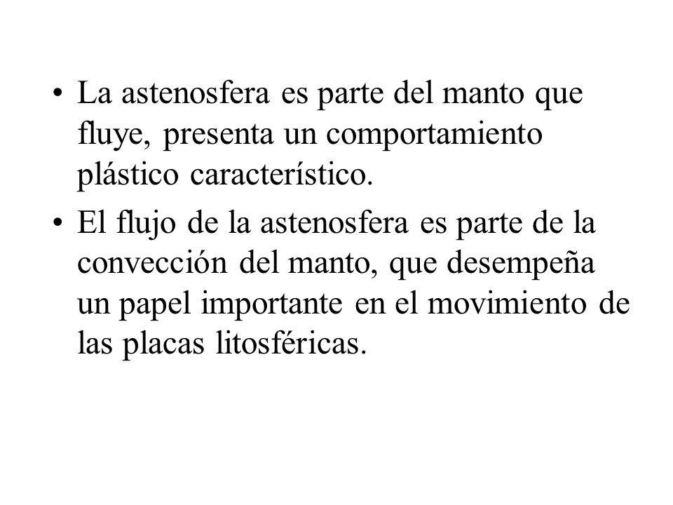 La astenosfera es parte del manto que fluye, presenta un comportamiento plástico característico. El flujo de la astenosfera es parte de la convección